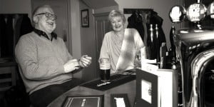 Customers enjoying a tipple of two